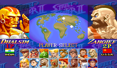 Street Fighter 2 character select